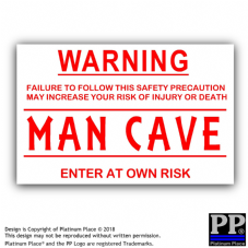 Man Cave-Red/White-130x87mm-Sticker,Sign,Notice,Warning,Joke,Room,Gaming